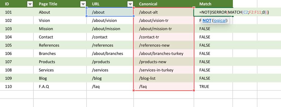 Excel INDEX Fonksiyonu