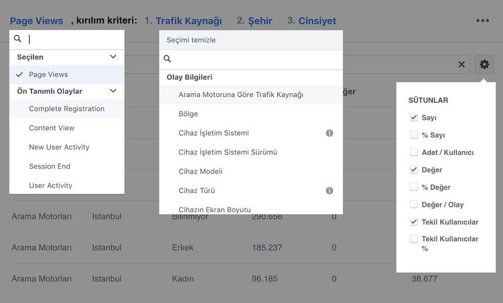 Facebook Analytics Kırılımlar