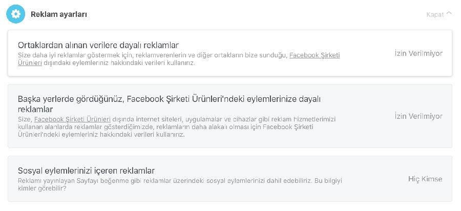 Facebook Reklam Ayarları