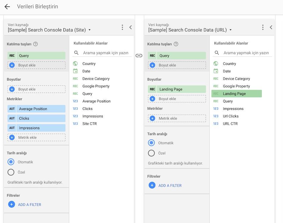 Google Data Studio - Veri Kaynağı Birleşirme İşlemi