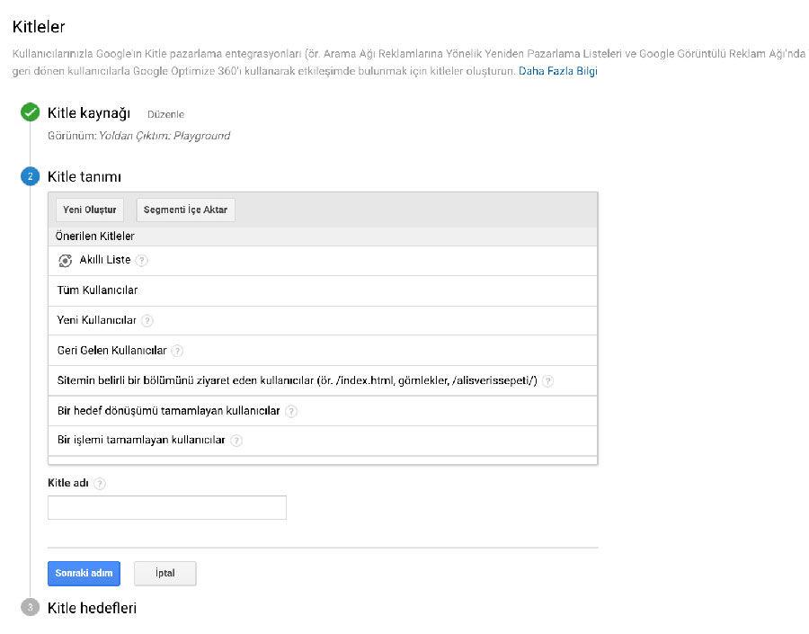 Google Analytics Kitle Tanımı