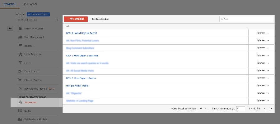 Google Analytics Segmentler