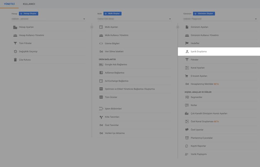 Google Analytics İçerik Gruplama