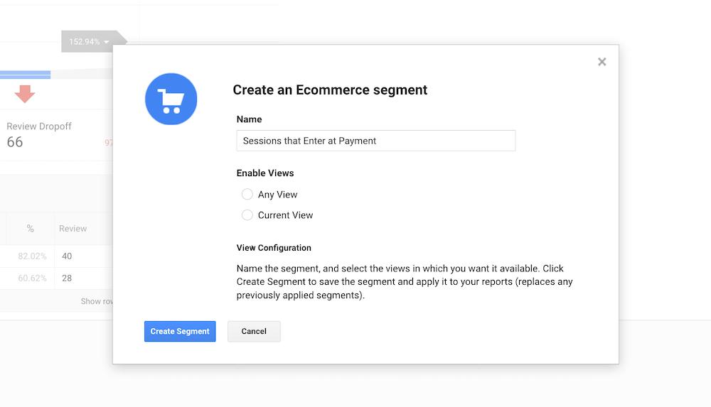 Google Analytics Ecommerce Segment