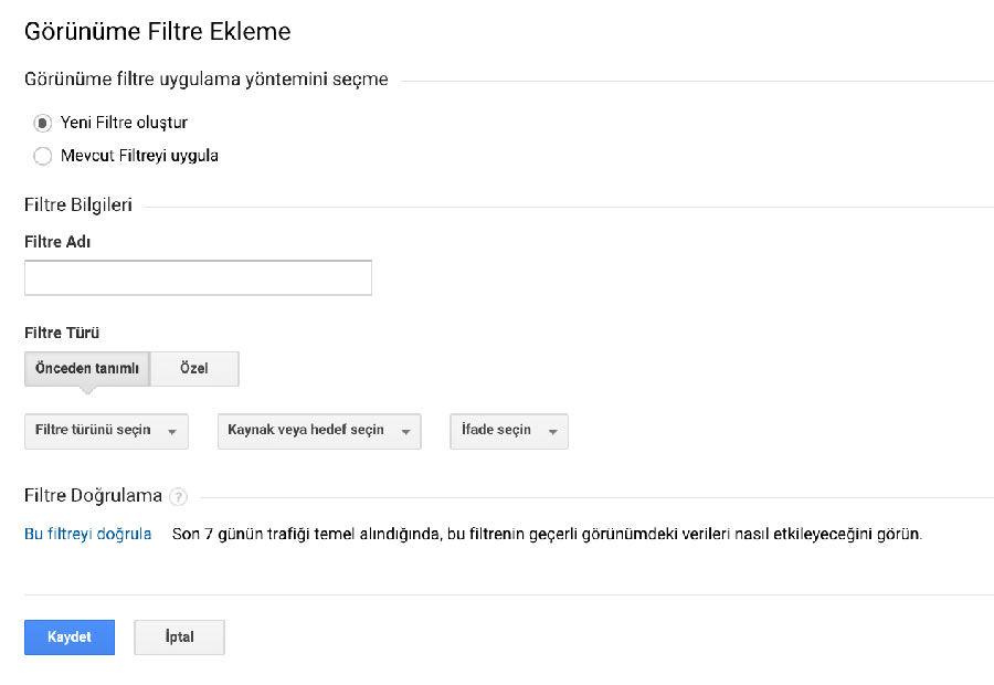 Google Analytics Filtreler