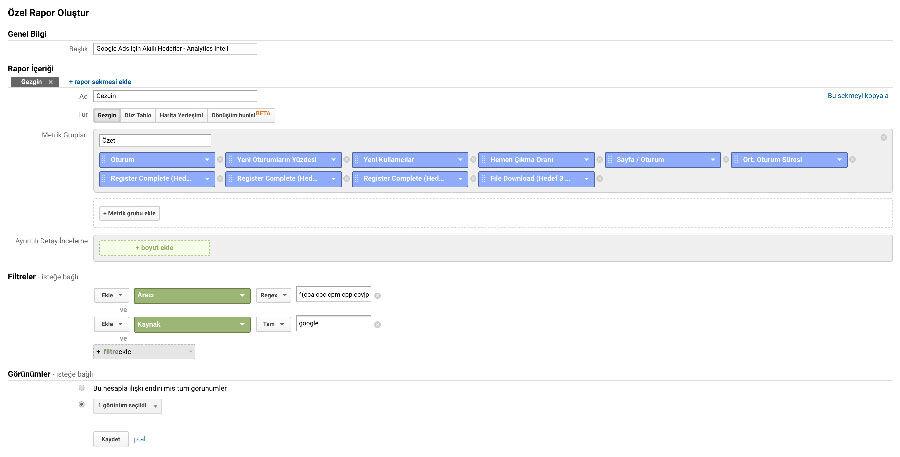 Google Analytics Hedef İşlemleri