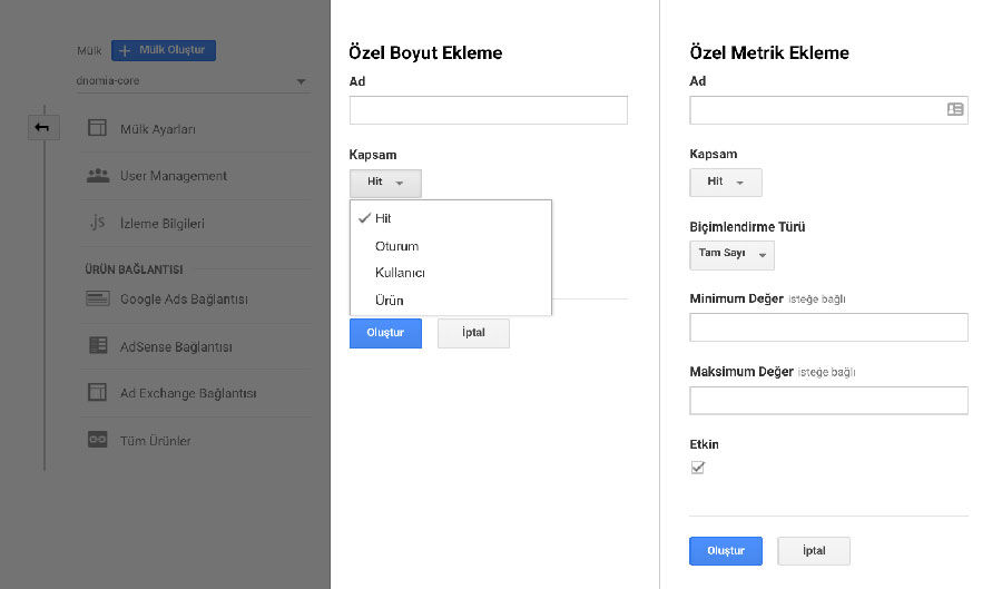Google Analytics Özel Tanımlar