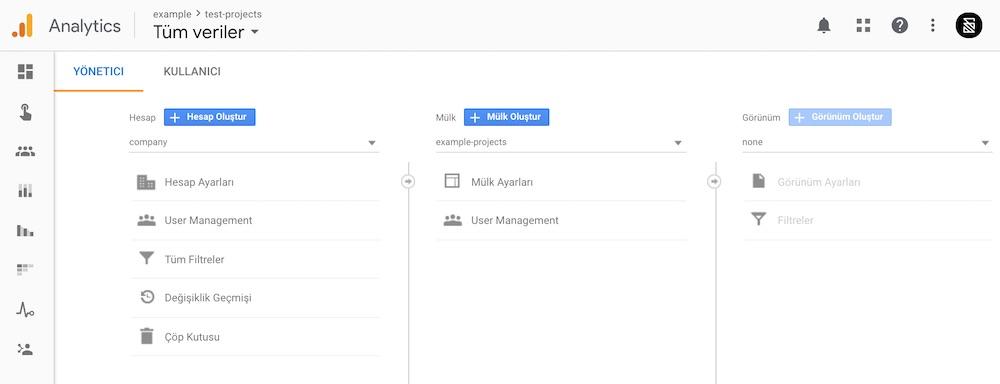 Google Analytics Mülk Ayarları