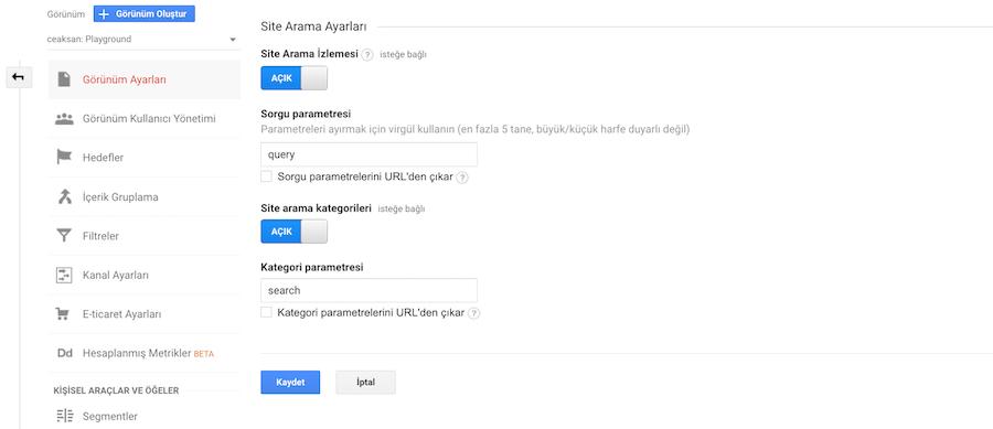 Google Analytics Site Arama