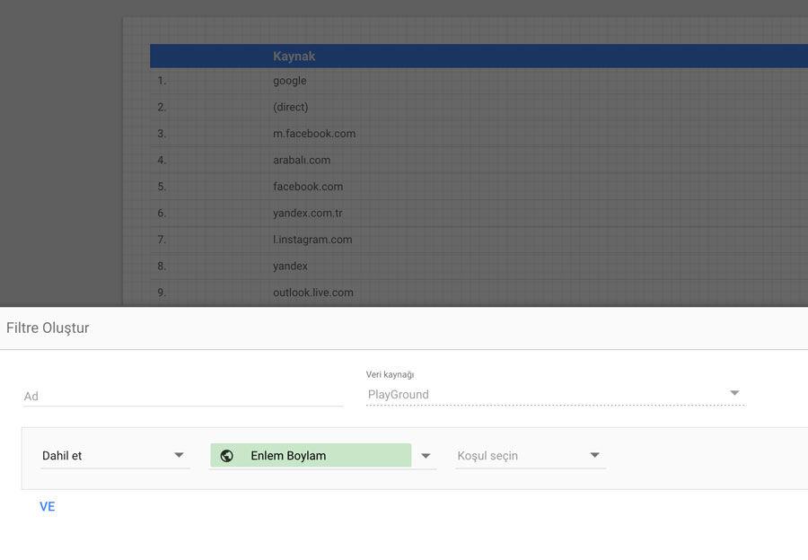 Google Data Studio Filtreler