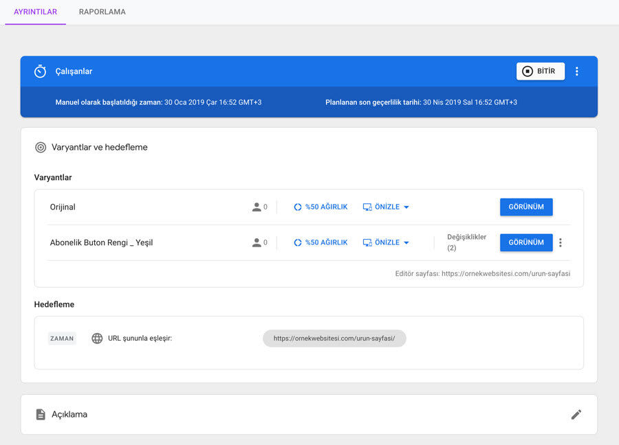 Google Optimize Varyant Testi