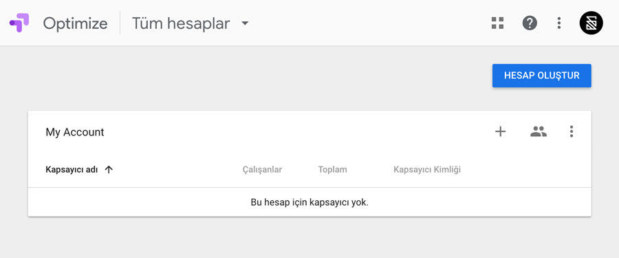 Google Optimize Kapsayıcı