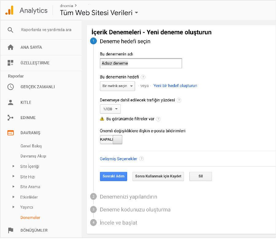 Google Analytics ve Optimize Deneyi