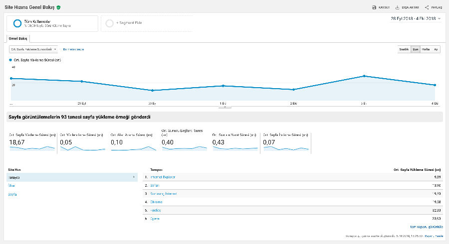 Google Analytics Site Hızı