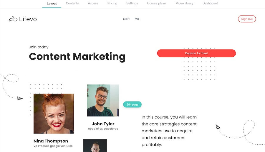 LearnWorlds Layout - Page Builder