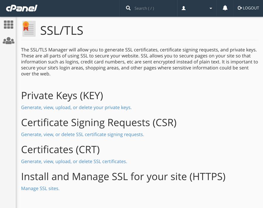 CPanel - SSL / TLS