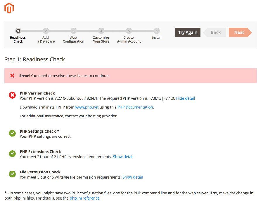 Magento PHP Sürüm Hatası
