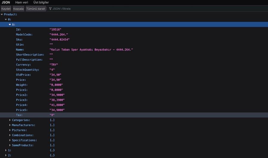 Node.js İle XML dosyasını JSON'a çevirmek