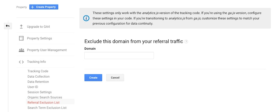 Google Analytics Referral Exclusion