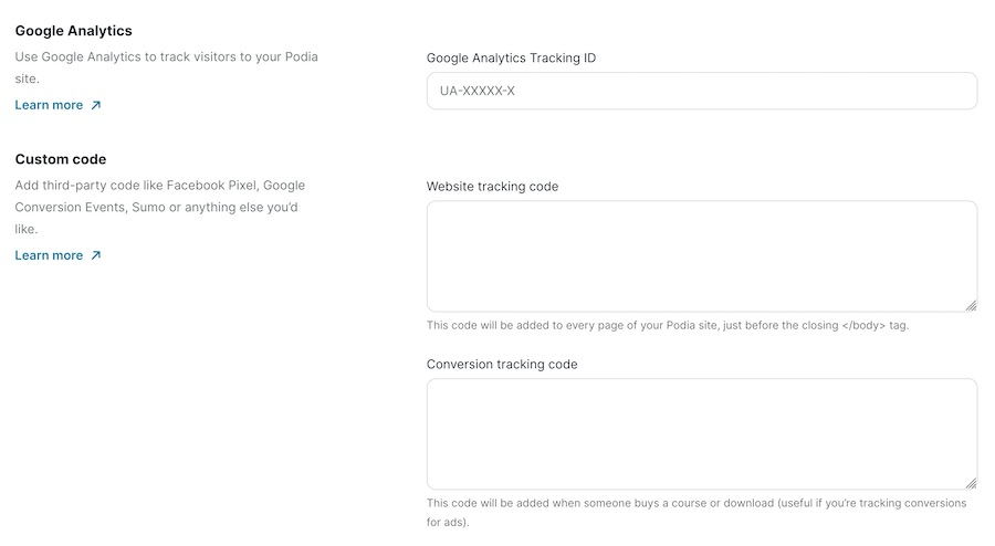 Podia Tracking Code
