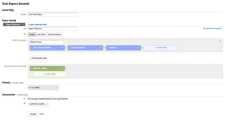Google Analytics - Özel Rapor