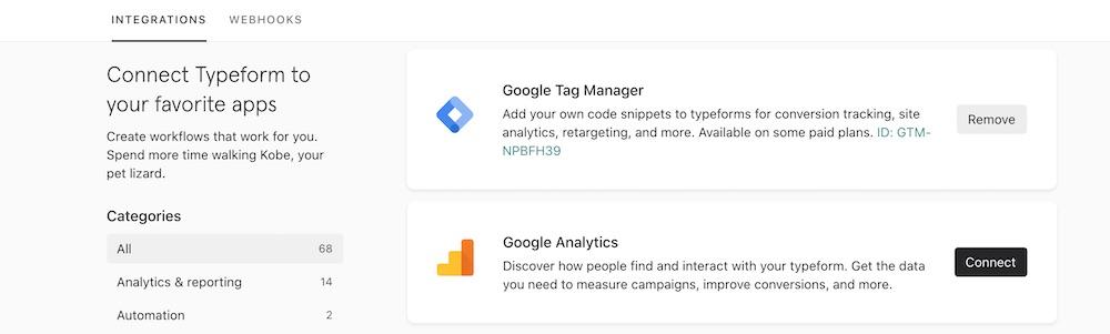 Typeform Google Tag Manager