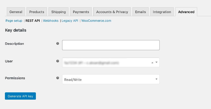 Woo API Key Oluşturma