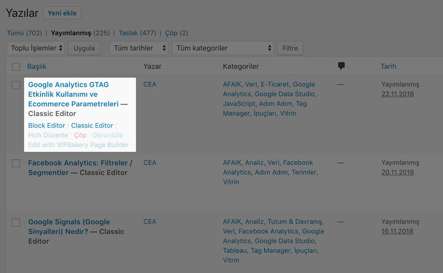 WordPress Editör Seçenekleri