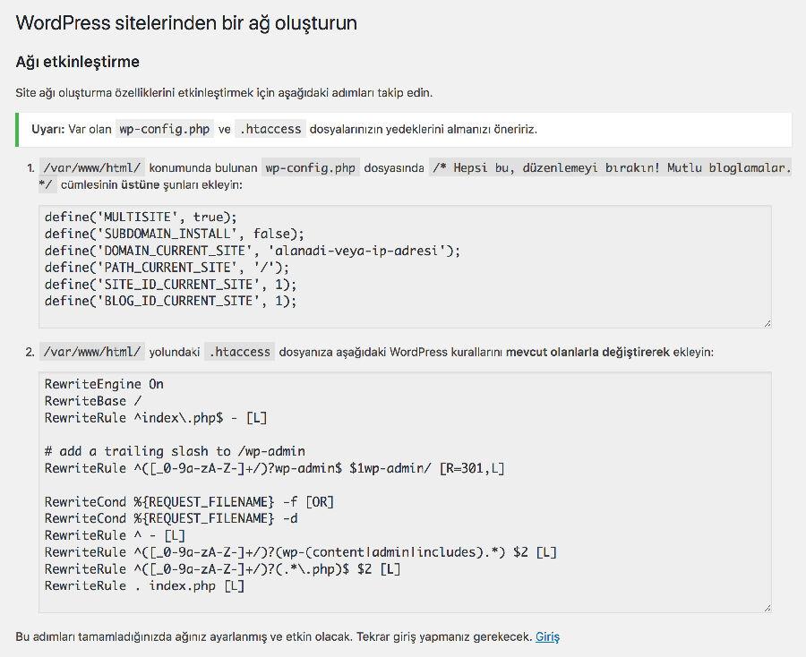 WordPress MU htaccess Düzenlemesi